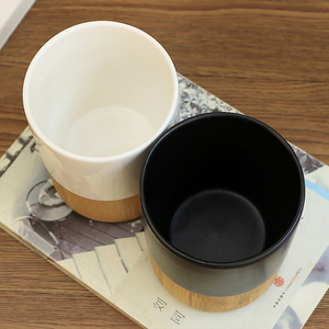 Ceramic porcelain coffee cup ceramic tea cup sets with bamboo base
