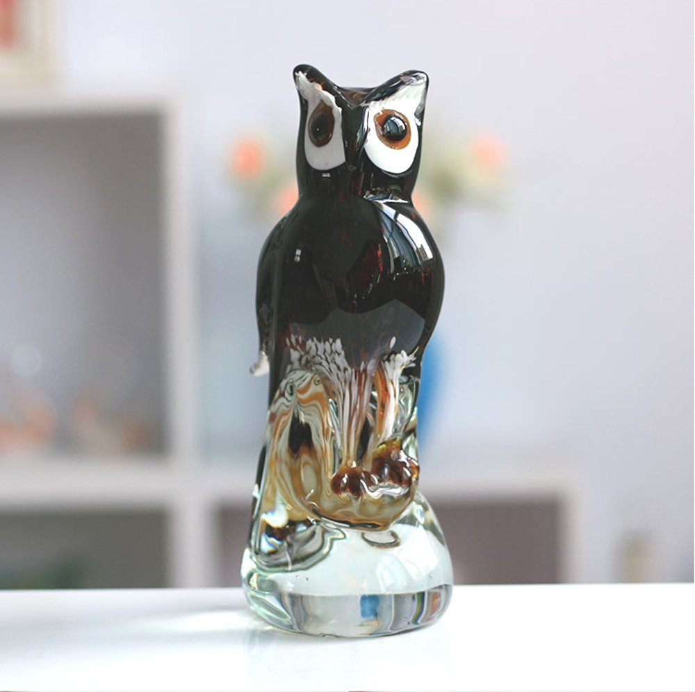 """Extra Large 9.5"""" Tall Murano Art Masterpiece Glass Owl Sculpture Collection-Ancient Symbol of The Greek Goddess Athena, The Owl Has Always Been Emblem of Wisdom and Good Luck."""