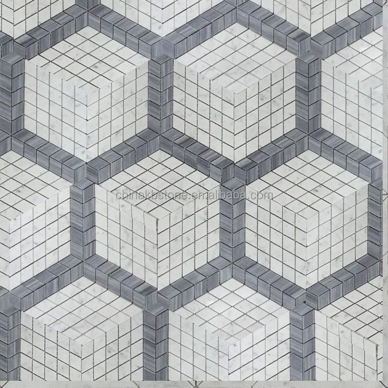 italien grau gemischt 3d effekt carrara mosaik fliesen wandfliesen dekoration derbodenfliese. Black Bedroom Furniture Sets. Home Design Ideas