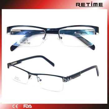 10cf90e820 men s blue stainless steel half-rim eyeglass frames with metal parts(S-075