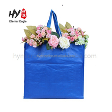Laminated blue eco fabric tote pp woven shopping bag