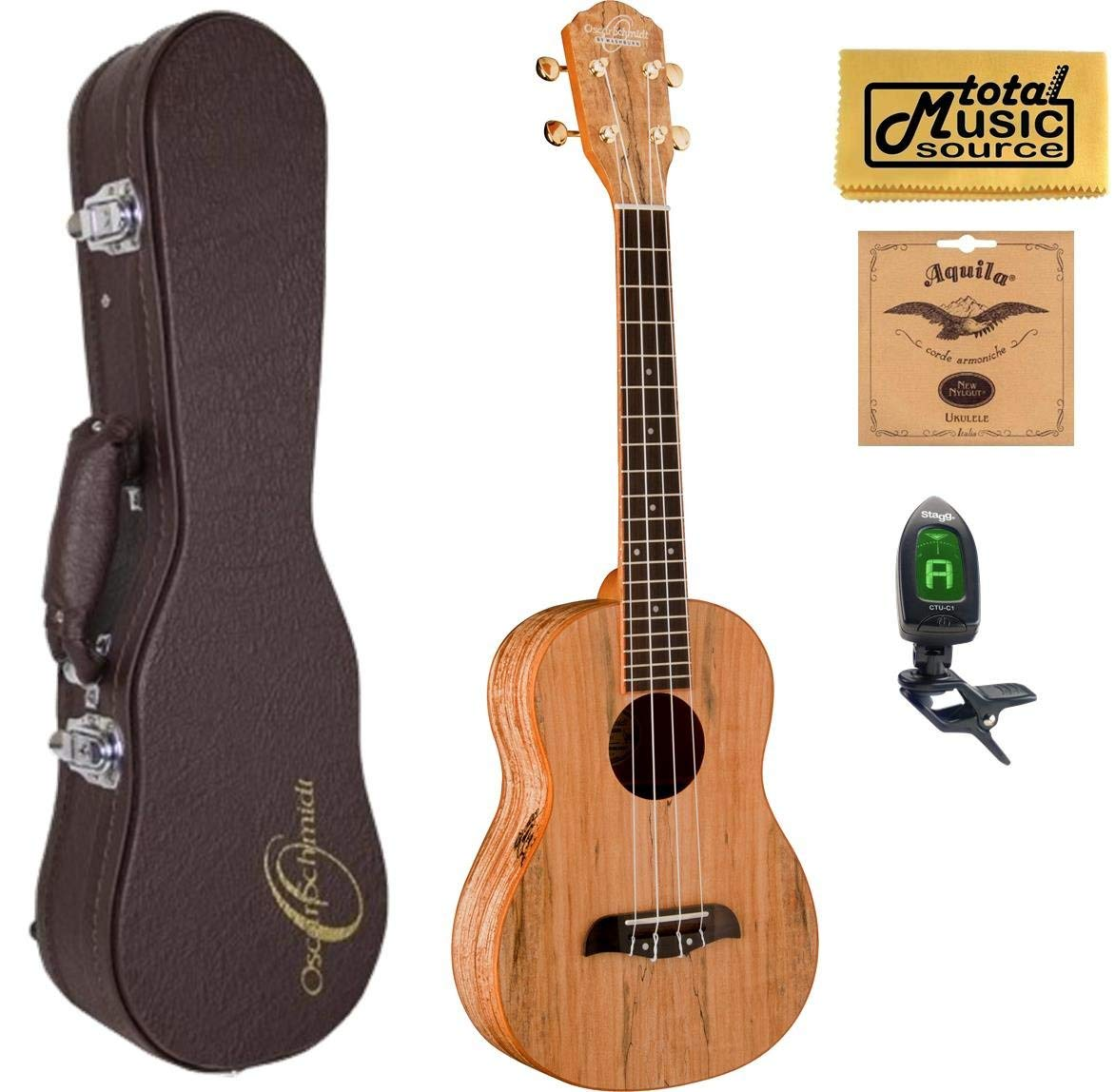 Oscar Schmidt OU8T Tenor Ukulele, Spalted Maple Top, Back and Sides,w/Hard Case,Tuner,Strings & PC, OU8T HCASE
