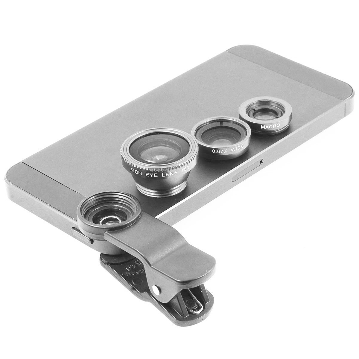 Gray Universal Clip-on 180 degree 3 in 1 Fisheye+Wide Angle+Macro Camera Lens Kit for iPhone 5 5S 4 4S 6 Samsung Galaxy S5/S4/S3 Note 4/3/2 HTC Blackberry Bold Touch, Sony Xperia, Motorola Droid