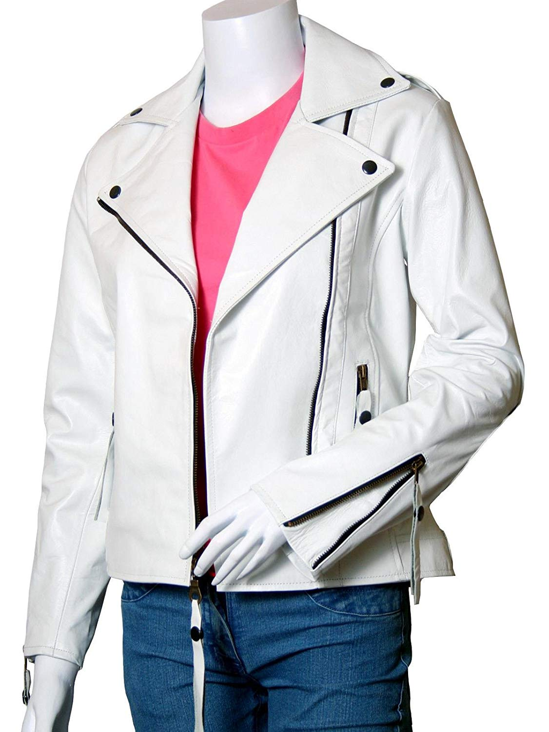 Xport Designs Real Leather Size Medium Biker White Jacket for Women