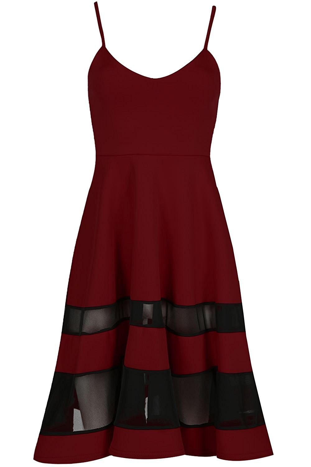 d2e70ddc6a Get Quotations · Oops Outlet Sleeveless Contrast Mesh Panel Swing Skater  Dress Flared Midi Dress