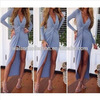 Walson hot sales Bestdress boutique 2015 Fashion Women Long Sleeve Dress V-Neck Slim Fit Sexy Long Dress boutique clubwear for