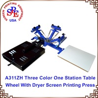 3 Color 1 Station Table Press with Flash Dryer manual screen printing equipment