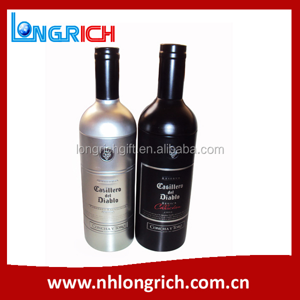 wine bottle shaped tin box high quality customized gift tin bottle with competitive price
