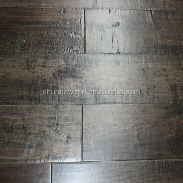 Stained Handscraped Maple engineered wood <strong>flooring</strong>