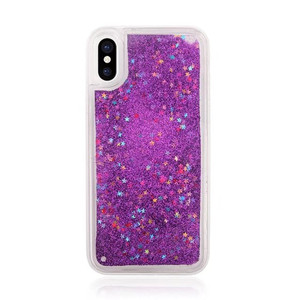 hot selling shockproof tpu colorful star hard pc for iPhone X case liquid glitter