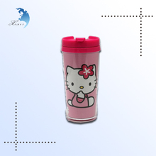 2014 new style OEM cheap price promotional good quality plastic cup with hello kitty