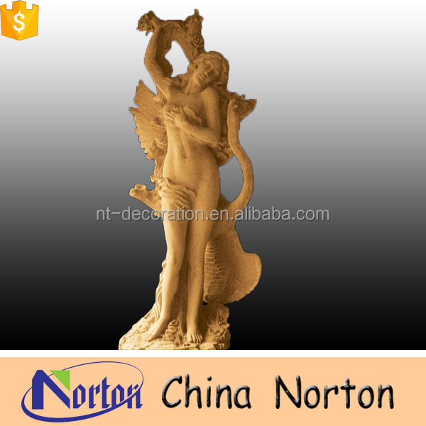 Norton indoor decoration egypt yellow marble mermaid sculpture for art collection NTMS0098L