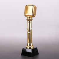 Wholesale Gold Metal Microphone Trophy Crystal Music Trophy Award for Music Souvenirs