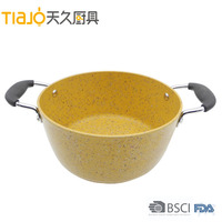 Aluminum Forged Granite Coating Saucepot with Glass Lid