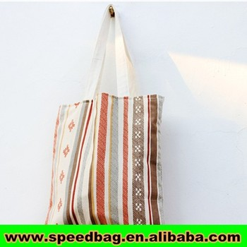 Vertical stripes bag popular arabic style canvas tote bag