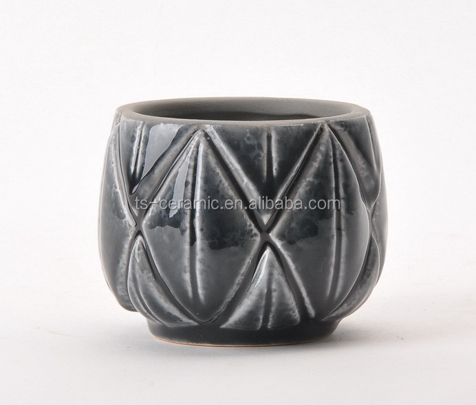 Modern style decoration indoor outdoor hand made gridding small bonsai ceramic pot