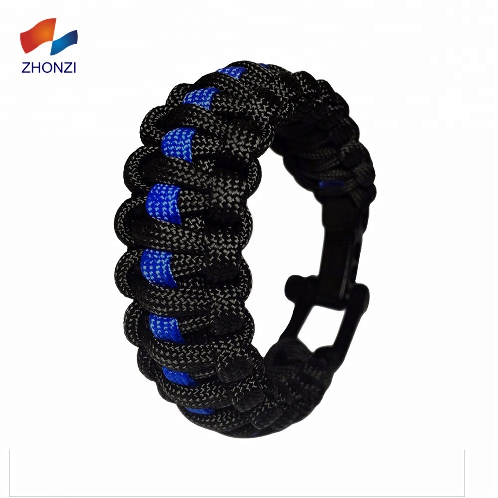 Home & Garden Blue Leatherthin Blue Line Paracord Bracelet Usa America Support Lives Police Matter Survival Bangle Bracelet Fixing Prices According To Quality Of Products