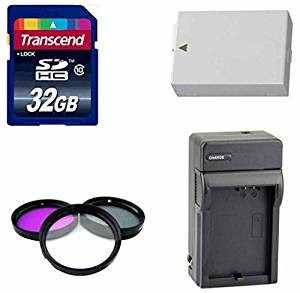 Canon DSLR Camera Accessory Kit- With Spare LP E8 for Canon Battery + LC E8 Travel Charger + Transced 32 GB High Speed SD Card + 3 Piece Filter Kit- For Canon T3i & T5i