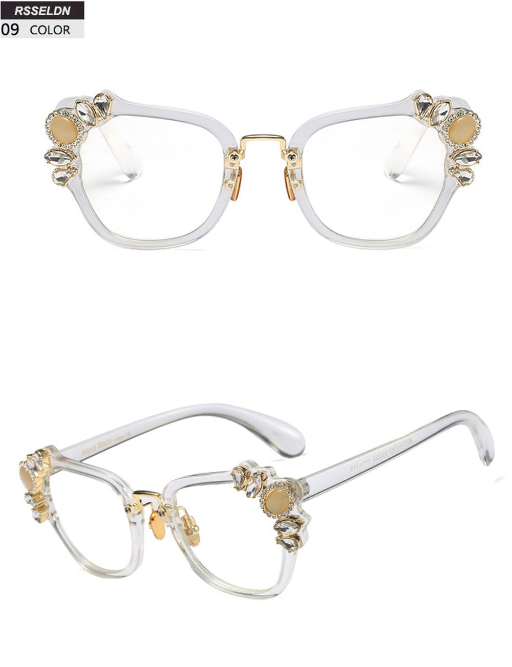 572f33480e04 Boyarn Transparent Eyeglasses Frames Women Cat Eye Glasses Frame Luxury  crystal Rhinestone Clear Lens Vintage Eyeglass