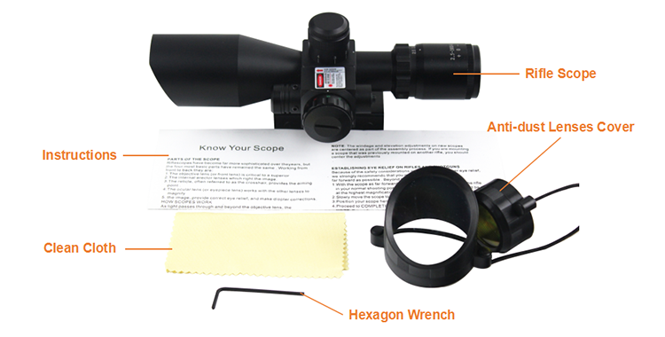 BTC Tactical 2.5-10x40 RifleScope with Illuminated Range Finder Reticle and Built-In Red or Green Laser Sight Reflex Picatinny