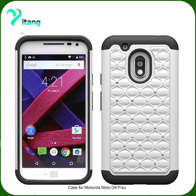 wholesale dealer a1e87 704a1 2 In 1 Armor Case For Motorola Moto G4 Play Xt1607 Hard Cover With Bling  Diamond 4g Play Case - Buy Hard Cover With Bling Diamond,Hard Cover With ...