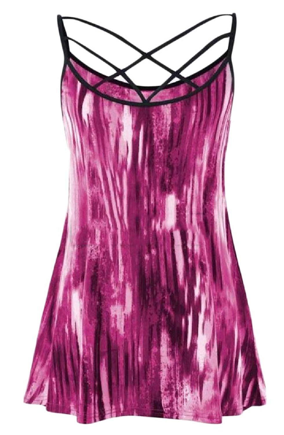 Zimaes-Women Hollow Out Tie-Dye Plus-Size Sexy Sleeveless Cami Blouse