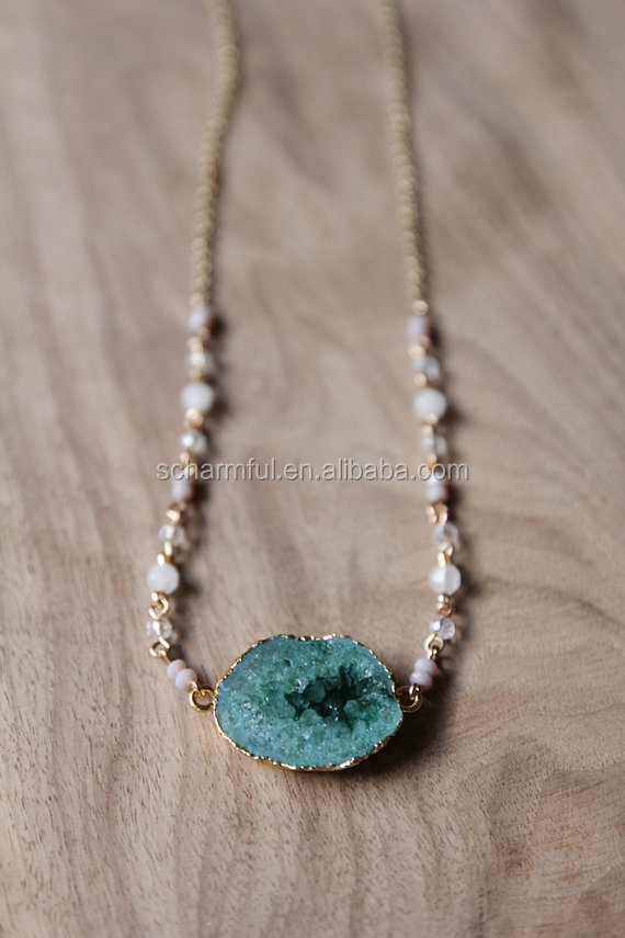N00270 Druzy Connector On Rosary Chain Necklace Druzy Pendant Necklace With Gold Electroplated