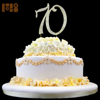 Number 70 Crystal Rhinestone 12cm Cake Toppers For Happy 70th Birthday Party
