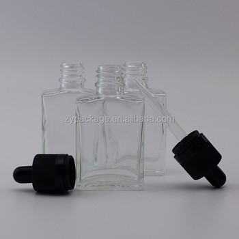 30ml transparent square glass dropper bottle for perfume