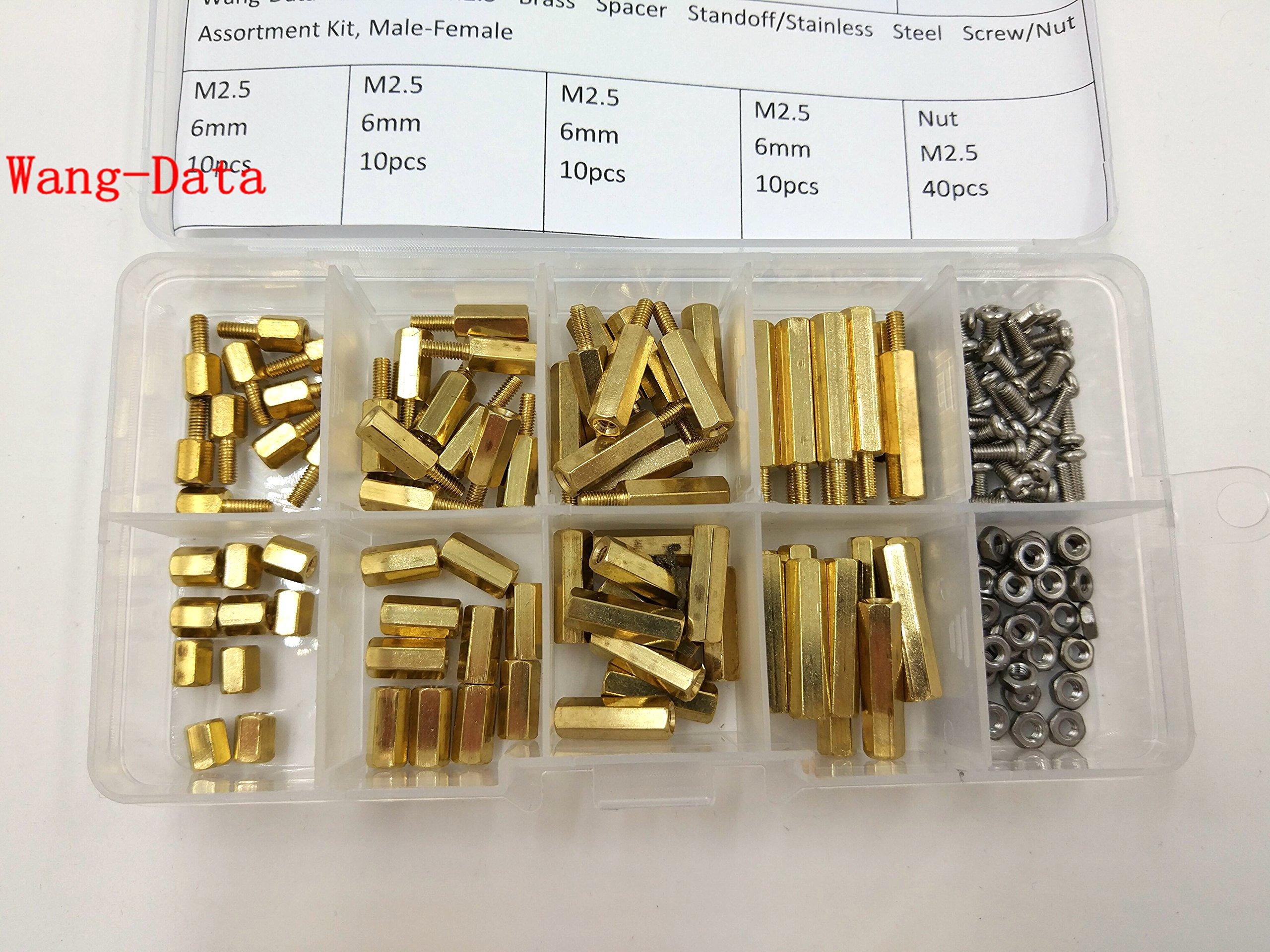 Wang-Data 160PCS M2.5 Brass Spacer Standoff/Stainless Steel Screw/Nut Assortment Kit,Male-Female