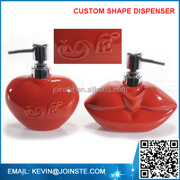 Ceramic Red Valentine Heart Shaped Soap Dispenser with Pump