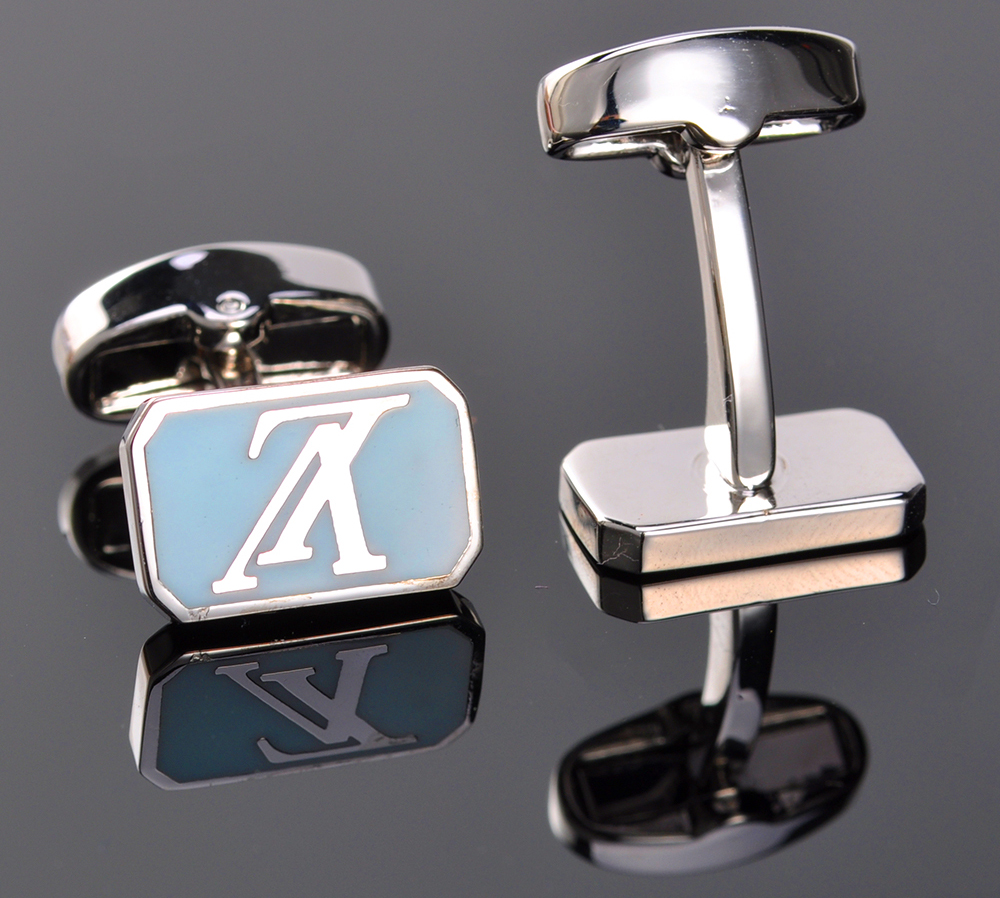 Custom fashion engraved logo white gold silver cuff links/cufflinks