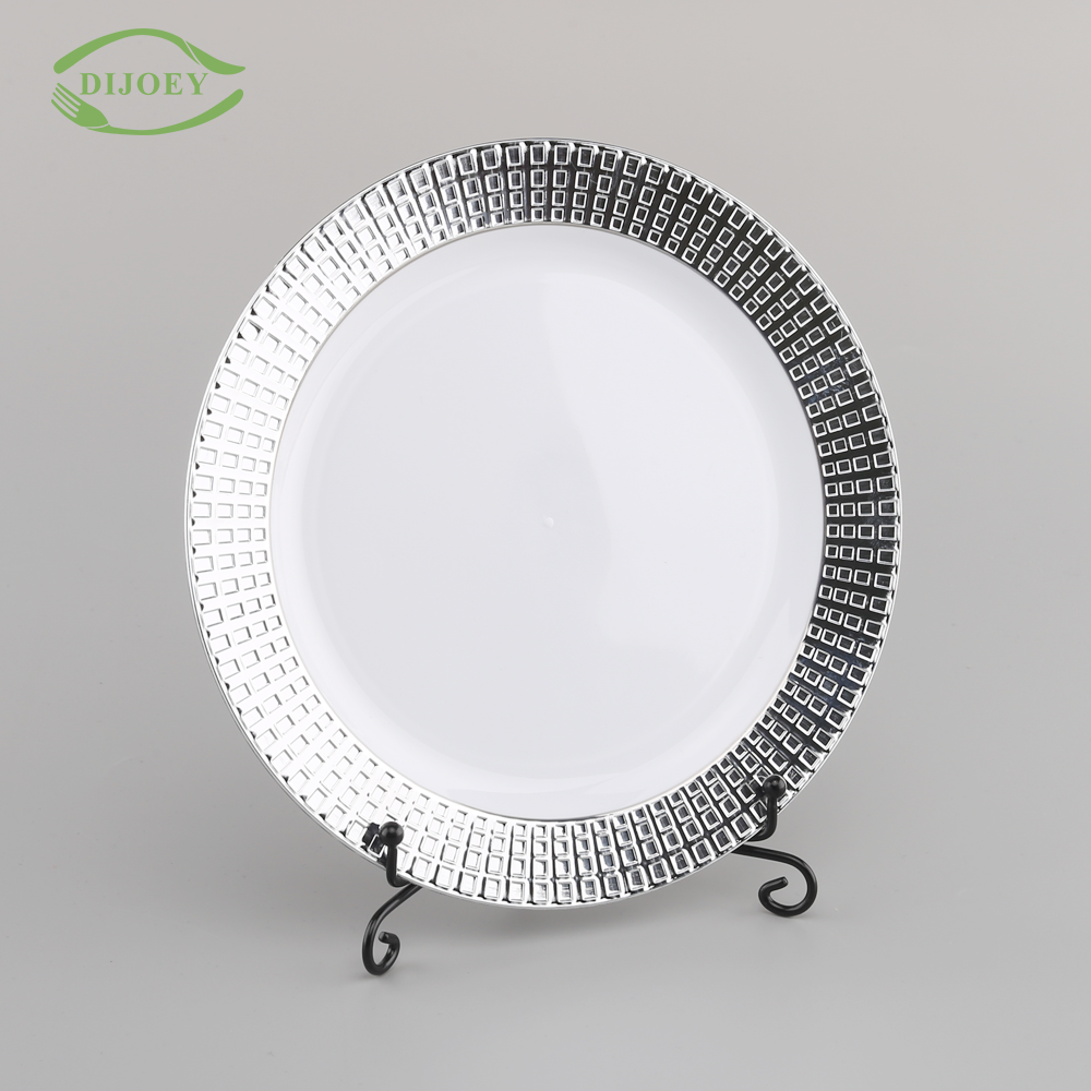 Direct factory ps hard diet dessert silver food fruit china wedding wholesale disposable cheap restaurant plastic plate dish