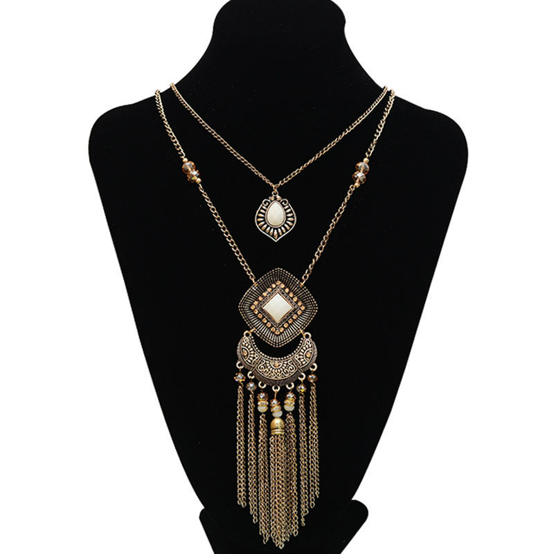 New arrivals sweater long pendants necklaces bohemia 2 layers tassel necklaces vintage antique gold crystal handmade necklaces