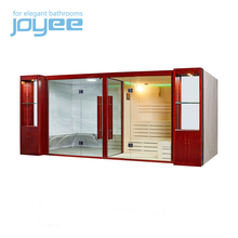 Joyee big size 8 10 12 person resort villa outdoor sauna spa bath infrared sauna and steam combined room
