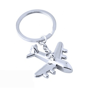 Custom Metal Keychain Polished Silver Aircraft Model Airplane Key Ring