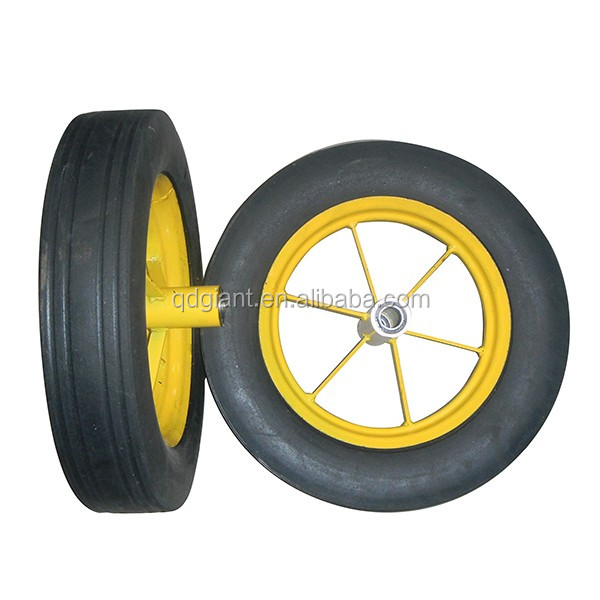 "strong black solid tyre 16"" wheel wheelbarrow wheel"