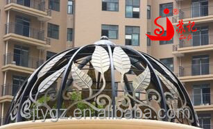 Wrought Iron Leaves Decorative Awning Canopy Iron Dome For Outdoor