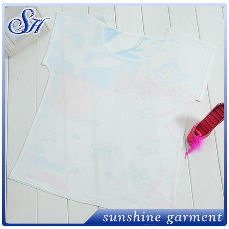 Sunshine clothing polyester cheap t shirt screen printing wst2040