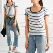 Simple striped scooped neck cycling cotton-jersey Longline T-shirt images of ladies casual tops HST5960