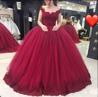 ZH3128G Tulle Ball Gown Lace Bodice Appliqued Hem Burgundy Off The Shoulder Evening Prom Gown With Lace Up Back