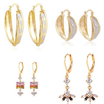 New Arrival Saudi Gold Earrings Design 18k Solid Hoop
