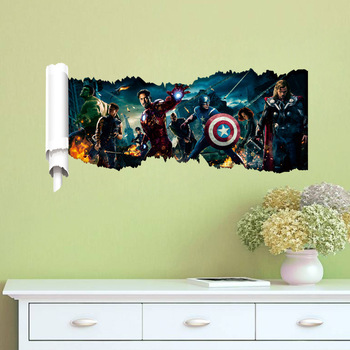 hero wall decals gift movie character wall stickers kids 3d, view