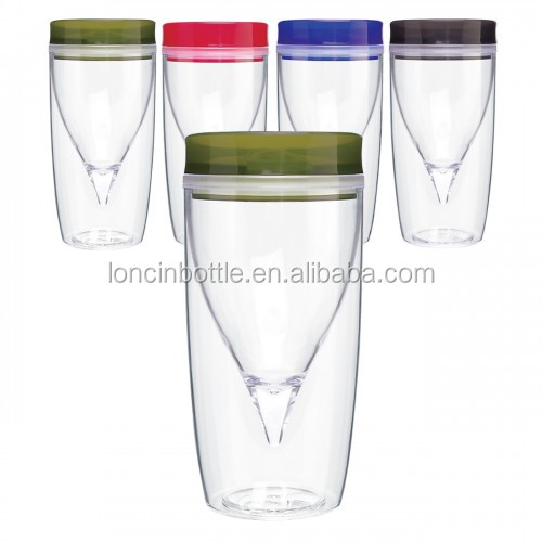 10oz BPA Free Portable Wine Glass, 10oz Double Wall Insulated plastic Wine Glass Tumbler,double wall wine sippy cup