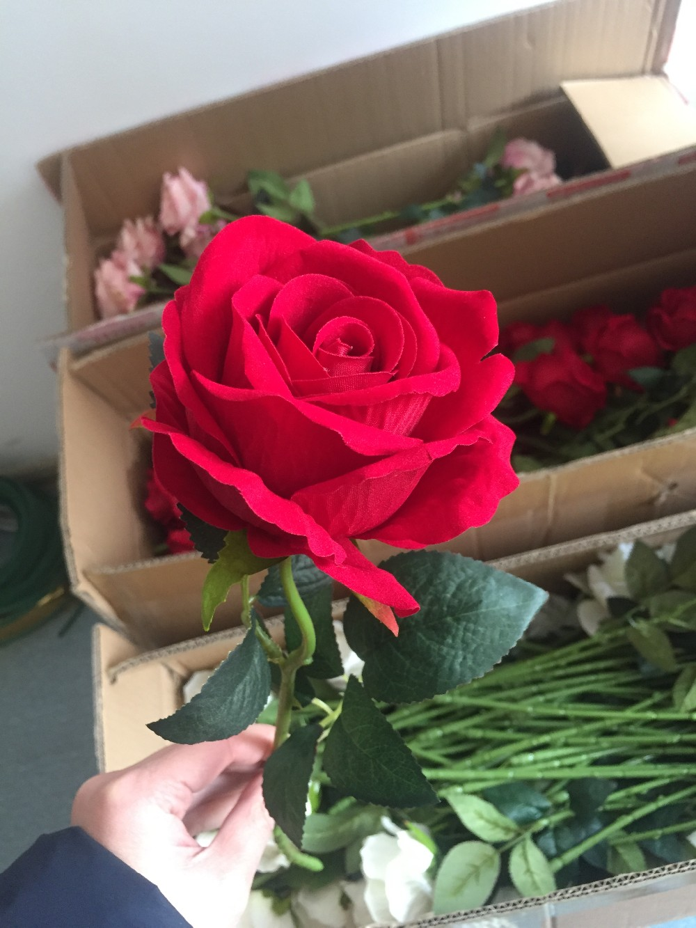 Cheap Artificial Fake Plastic Flower Single Rose Mix Color Red Roses
