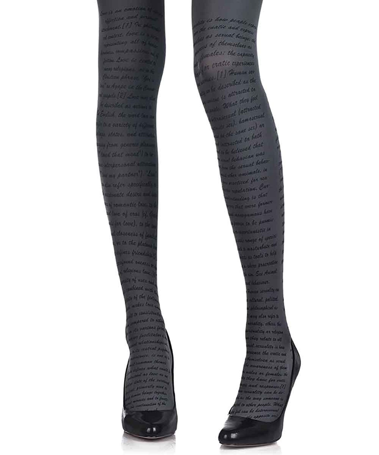 6d9cd1ead Get Quotations · Love Text Printed Tights for Women Grey Opaque 120 denier  by Zohara Tights