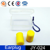 Custom Logo Noise Reduction Yellow Cylinder-Shaped Ear Plugs with Case