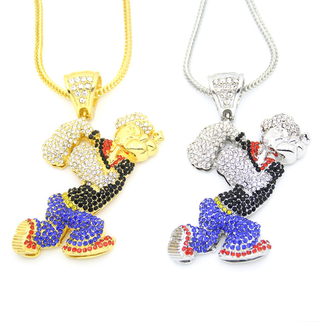 DS New Bling Bling Iced Out Large Size Cartoon Movie Crystal pendant Hip hop Necklace Jewelry 36inch chain