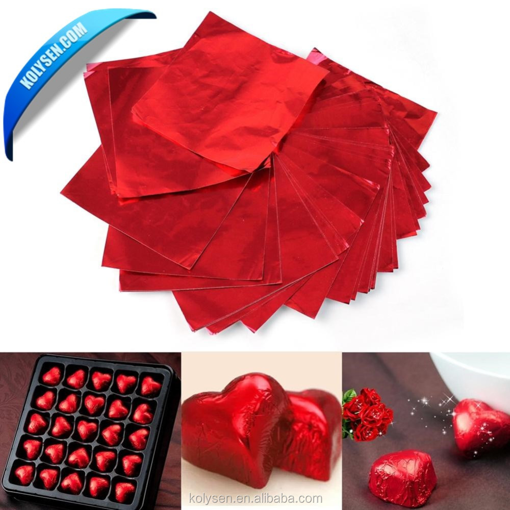 color food wrapping paper laminated aluminum foil chocolate wrappers in red