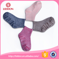 Super comfort high cotton colorful yarn knitted 100% cotton socks oem children ankle support sock